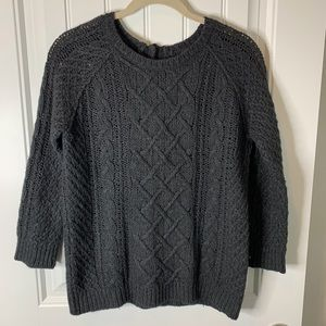 Ann Taylor Loft cable knit black sweater size med